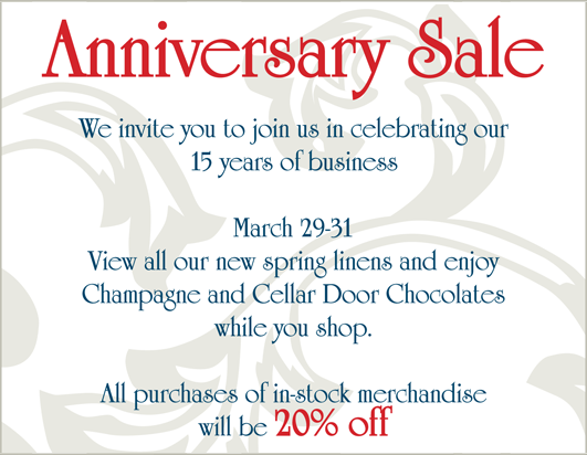 Anniversary Sale 20% off In-Stock Merchandise